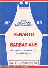 PENARTH v BARBARIANS (Rugby Union Club Match 8.4.1977) Programme (2)