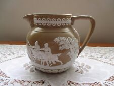 VINTAGE 19TH CENTURY SPODE COPELAND BROWN AND WHITE JUG WITH MILITARY FIGURES