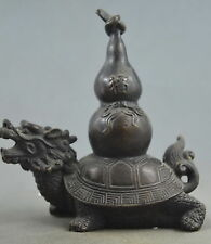 Collection Handmade Old Copper Care Dragon Tortoise Hold Gourd Souvenir Statue
