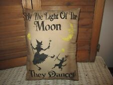 Primitive Stenciled Pillow - By The Light of the Moon- Halloween