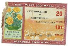 1933 Rose Bowl Game ticket stub Pittsburgh USC