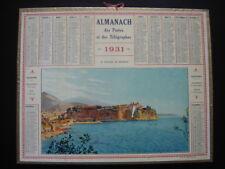 Rare Calendrier PTT Almanach des Postes 1931 LE ROCHER DE MONACO convient 2026