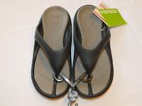 Crocs Athens Flip Flops Sandals Thongs 10024-05M M 6 W 8 Black/Smoke grey