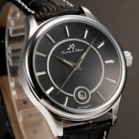 KS Classic Men's Automatic Mechanical Date Black Leather Analog Wrist Watch