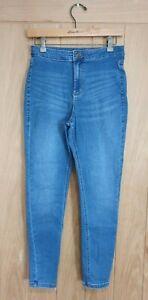 M&S size 12 R blue stretch denim high waist super skinny jeans W28 L27