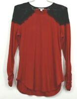 Bisou Bisou Michele Bohbot Women's XL Cinched Cuff Red Casual Long Blouse Top