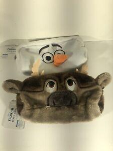 Disney Frozen 2 Olaf Snowman & Sven Reindeer Pencil Case Make-up Bag Brown NWT