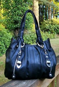 B. MAKOWSKY Handbag Purse Black Leather Zip Front Pockets Satchel Shoulder Bag