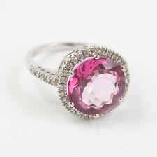 Designer Style 14k White Gold Pink Rock Candy Diamond Halo Ring Size 6.5 NR DMJ