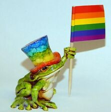 Harmony kingdom art Neil Eyre Designs tree frog top hat rainbow pride flag Le12