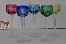 SAINT-LOUIS  « Modèle RIESLING »  5 Verres à Liqueur en Cristal Multicolore