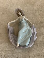 "1990 Lladro Spain Daisa 5662 ""May Dance"" Woman Blue Dress Hat & Cape Figurine"