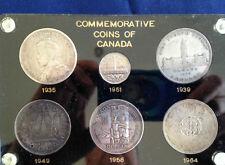 1935-1964 Commemorative Coins of Canada 5 Silver Dollars + 1951 Nickel  E4931