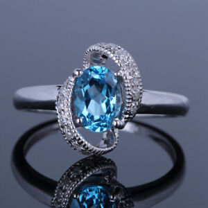 Real Diamond Solid 10K White Gold 5x7mm Oval Swiss Blue Topaz Gemstone Gift Ring