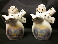 "THOMAS KINCADE 2 ORNAMENTS Caroling Snowmen Porcelain Winter Free US Ship 3.5"""