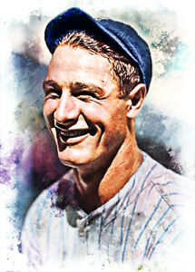 Lou Gehrig New York Yankees 5/10 Limited Fine Art Print Card By:Q