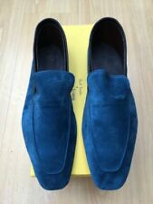 NEW JOHN LOBB PAUL SMITH MENS SEA BLUE SUEDE SHOES UK 11.5 45.5 LOAFERS LUCCA