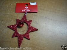 NEW Holiday ! Christmas Decoration Red Sparkly Star with Bell Ornament