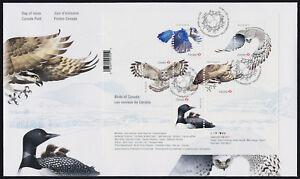 Canada 3017 on FDC - Birds, Owl, Blue Jay, Falcon, Loon