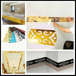 Acrylic Mirror Self Adhesive Wall Skirting Border DIY Stickers Decor Hollow Home