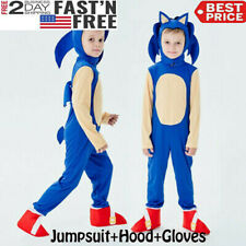 Kids Halloween Cosplay Sonic The Hedgehog Jumpsuit Costume Party Fancy Dress Set