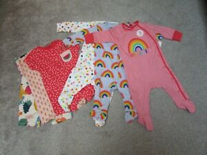 3 Brand new Next baby girls 3-6 months rainbow babygrow sleepsuits + 3 Rompers