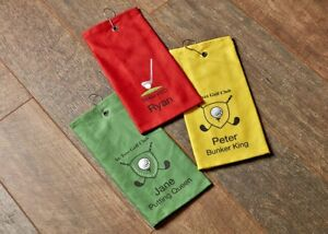 Personalised Golf Towels Photo, Logo, Wording, Colour, Image Great Personal Gift