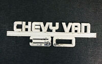 1970's Chevy Van 30 Emblem Heavy Metal White Nameplate Logo Large