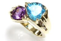4.25 ct tw Natural Topaz, Amethyst & Diamond 14k Yellow Gold Heart Cocktail Ring