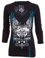 Archaic AFFLICTION Women LS T-Shirt BIG SCORE Skulls Biker Sinful S-XL $58 b