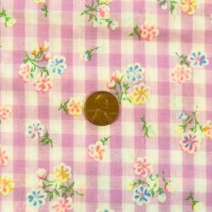 1.9 Yards Vintage Flocked Fabric Floral Purple Gingham Cotton Blend