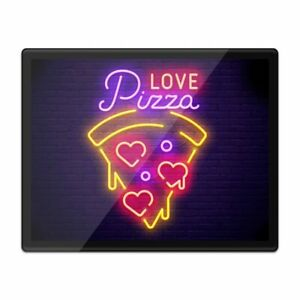 Placemat Mousemat 8x10 - Funny Neon Love Pizza Sign  #3518