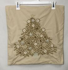 "Pottery Barn Christmas Tree Embroidered Pillow Cover 18"" Beige 2011 Collection"