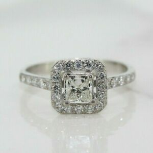 18ct White Gold 1.00ct Princess Halo Cluster Engagement Ring (Size N, US 6 3/4)