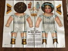 Antique Cloth Uncut Art Fabric Mills Life Size Doll Merrie Marie w/orig envelope