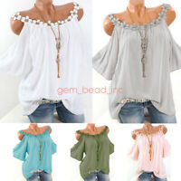 New Summer Plus Size Womens Cold Shoulder T Shirt Loose Casual Tunic Tops Blouse