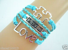 Pretty Hot Love/Hope/Autism Puzzle Sign Charms Leather Braided Bracelet - Blue