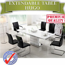 BRAND NEW Modern Extendable White MDF Dining Table 2.2m - HUGO