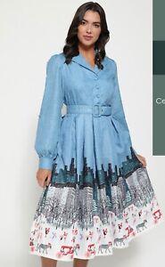 NWT LINDY BOP SHANNON CENTRAL PARK DRESS VINTAGE STYLE BLUE SIZE  16