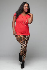 Womens Plus Size Cheetah Animal Print Leggings 2X