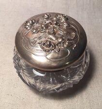 Kerr Antique Art Nouveau Lady Sterling Silver & Cut Glass Vanity Jar