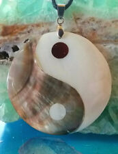 LARGE MOTHER OF PEARL INLAID YIN YANG PENDANT & CHAIN WITH FLOWER OF LIFE