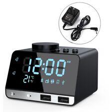 Alarm Clock Radio Bluetooth Speaker Dual Alarm Clocks w/ Dual Usb Charging Port