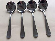 Set of 4 FLEUVE Round Soup/Bouillon/Cream/Chowder Spoons * NEW * Mirror Finish
