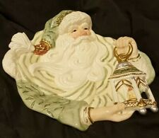 Fitz & Floyd Green Gold Old World Santa Christmas Canape Cookie Plate