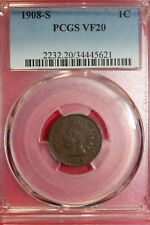 1908 S VF20 Indian Head Cent PCGS Certified Graded Fast Free Shipping OCE 599