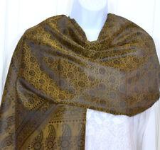 Banaras Silk Yellowish Green Woven Floral Paisley Design Shawl, Wrap, Stole