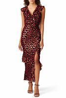 Saloni Womens Sheath Dress Black Size Small S Anita Ruffle Printed $695- 050