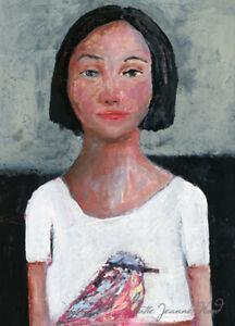 Girl & Chickadee Bird Original Painting by Katie Jeanne Wood