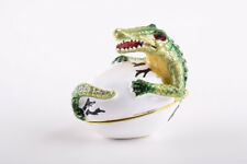 Faberge Crocodile trinket box hand made by Keren Kopal with Austrian crystal